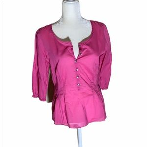 J. Jill pink 3/4 sleeve ultra sheer Shirt